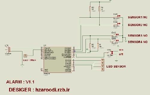 پروژه دزدگیر چهار کاناله با AVR (در محیط پروتئوس و بسکام 100% عملی)